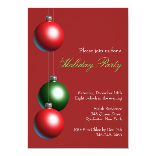 """Holiday Party Invitation on Cranberry Red 5"""" X 7"""" Invitation Card"""