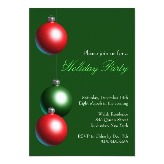 Holiday Party Invitation on Evergreen