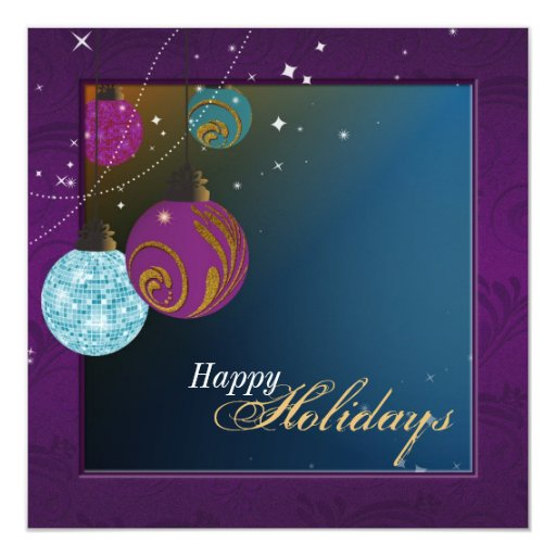 Holiday Party Invitation - Purple & Teal Ornaments