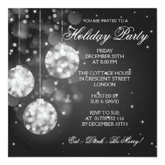 Holiday Party Invitation Sparkling Baubles Black