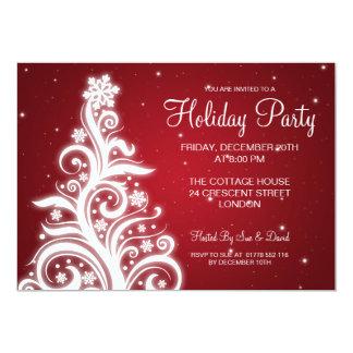 Holiday Party Invitation Swirly Tree Red