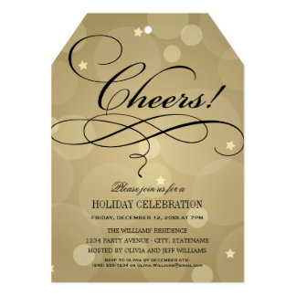 Holiday Party Invitations | Champagne Cheers Theme