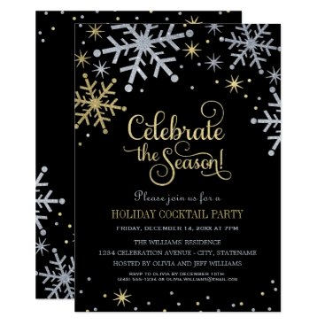 Christmas Themed Holiday Party Invitations | Silver and Gold Colors