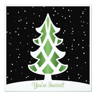 Holiday Party Invitations Tree Ribbon Green