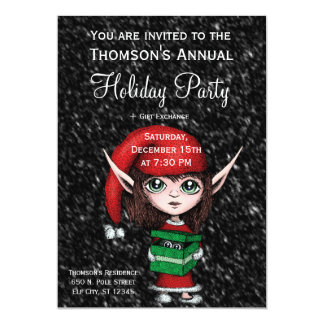 Holiday Party Invite - Christmas Elf w/ Present