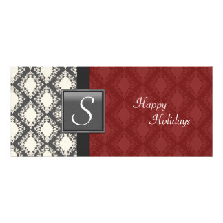 Holiday Party Invite - Deep Red Damask Monogram Custom Rack Card