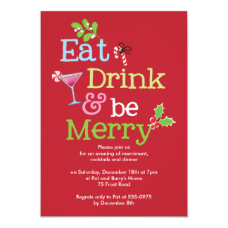 Holiday Party Invite Eat Drink Be Merry