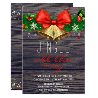 Holiday Party Jingle All the Way Gold Bells Rustic Card
