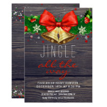Holiday Party Jingle All the Way Gold Bells Rustic Invitation