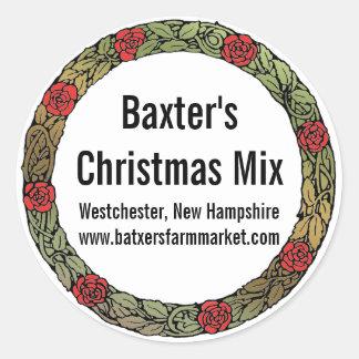 Holiday Party Mix Mason Jar Classic Round Sticker