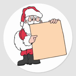 Holiday Party Name Tag Santa Claus Classic Round Sticker
