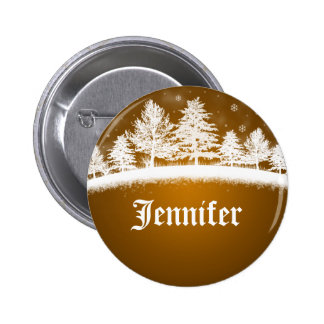 Holiday Party Name Tags Gold Pinback Button