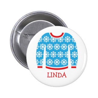 Holiday Party Name Tags Ugly Christmas Sweater Pinback Button