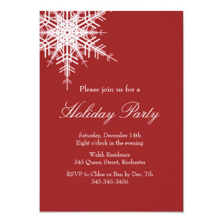 Holiday Party Offset Snowy Red Invitation