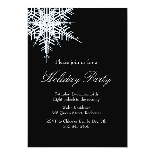 Holiday Party Offset Snowy White Invitation
