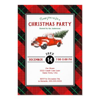 Holiday Party Red Vintage Truck Christmas Plaid Invitation