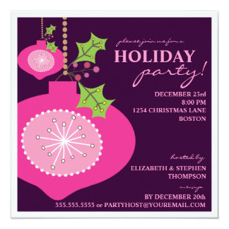 Holiday Party Retro Pink Ornament Invitation