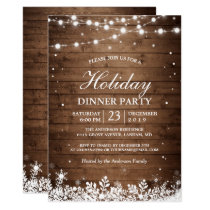 Holiday Party Rustic Wood String Lights Snowflakes Invitation
