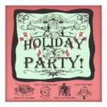 Holiday Party Santa 5.25x5.25 Square Paper Invitation Card