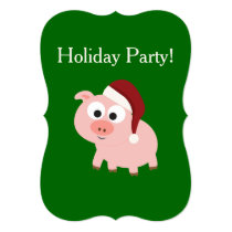 Holiday Party! Santa Pig Card