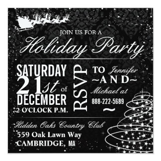 Holiday Party Santa Sleigh Christmas Party Invites