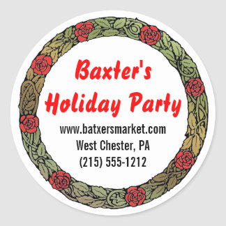 Holiday Party Snack Mix Customized Classic Round Sticker