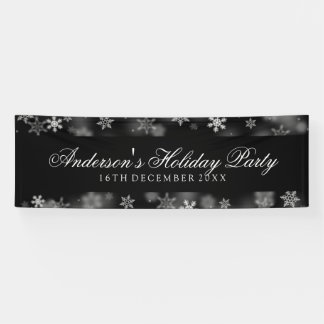 Holiday Party Snowflakes Black Banner