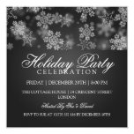 Holiday Party Snowflakes Black Invitations