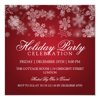 Holiday Party Snowflakes Red Card