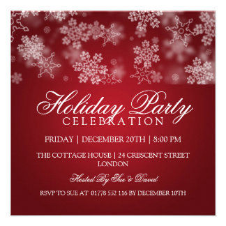 Holiday Party Snowflakes Red Custom Invite