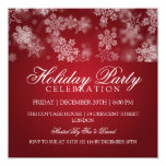 "Holiday Party Snowflakes Red 5.25"" Square Invitation Card"