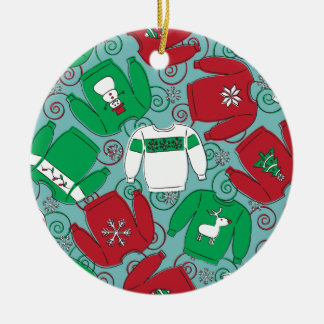 Holiday Party Sweaters Double-Sided Ceramic Round Christmas Ornament