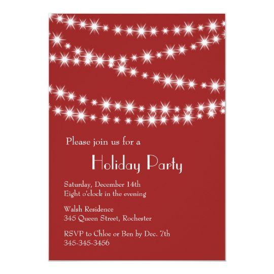 Holiday Party Twinkle Lights (red) Card
