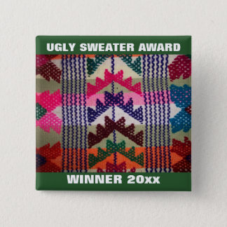 Holiday Party Ugly Sweater Contest Winner Award Pinback Button