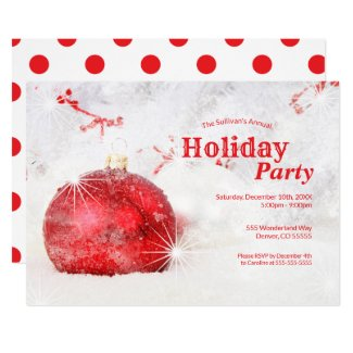 Holiday Party | Winter Frost Red Ornament Invitation