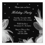 Holiday Party Winter White Feathers Invitation