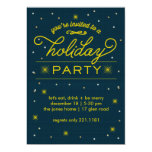 Holiday Party Yellow Bursts Custom Announcement