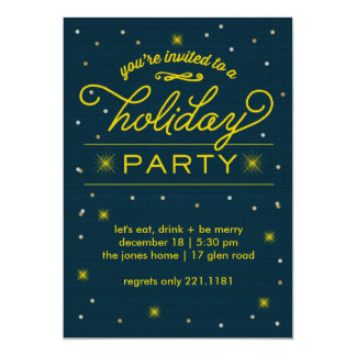 Holiday Party Yellow Bursts 5x7 Paper Invitation Card