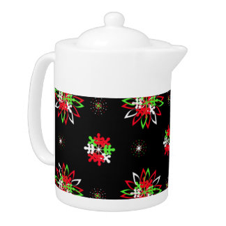Holiday Pattern Brights tea pot