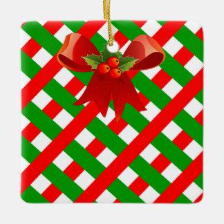 holiday pattern seasons greetings tree decoration square ornament
