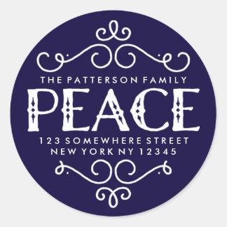 Holiday Peace Address Label Round