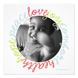Holiday Peace Love Joy Photo Card Announcement