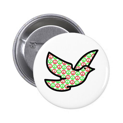 Holiday Peace Signs Dove Round 2 Inch Round Button