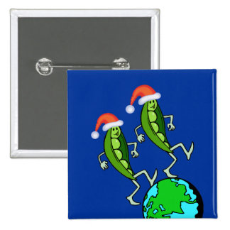 Holiday Peas on Earth 2 Inch Square Button