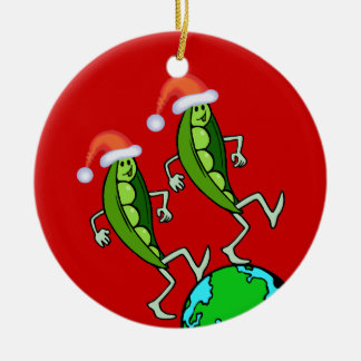 Holiday Peas on Earth Ceramic Ornament