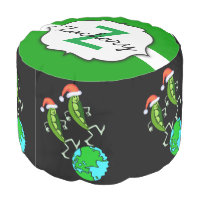 Holiday Peas on Earth Pouf