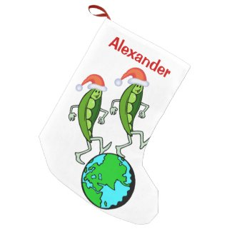 Holiday Peas on Earth Small Christmas Stocking
