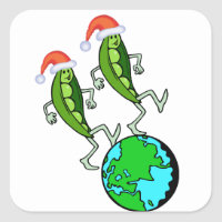 Holiday Peas on Earth Square Sticker