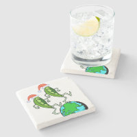 Holiday Peas on Earth Stone Coaster