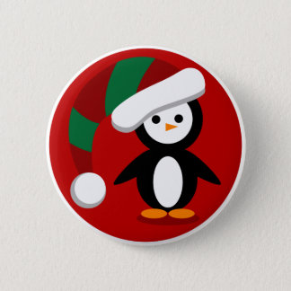 Holiday Penguin Button